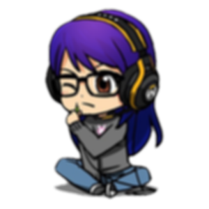 A chibifed recreation of Meredith with purple hair, wearing Overwatch headphones and squinting at the end of the headphone cable she is holding.