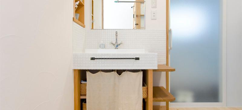 和歌山 0宣言の家 出雲建築設計 大阪 東大阪 健康住宅 自然素材の家 洗面所 手作り洗面台 スペイン漆喰 調湿