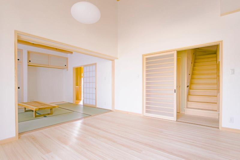和歌山 0宣言の家 出雲建築設計 大阪 東大阪 健康住宅 自然素材の家 和風 内観 無垢の床材