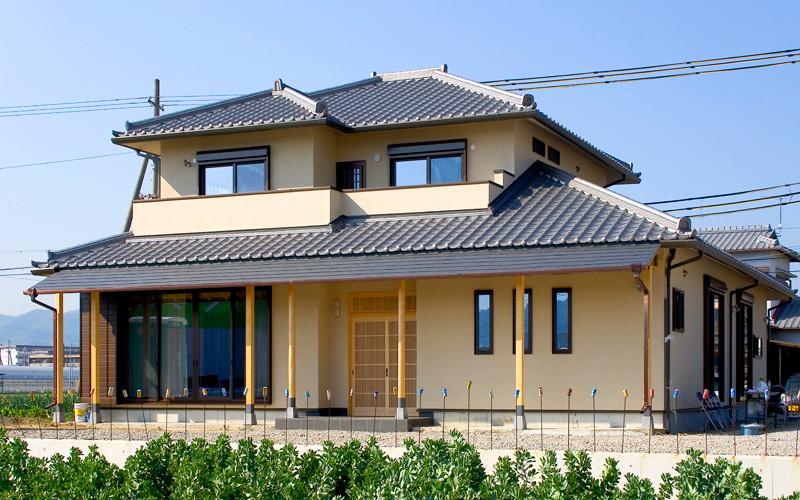 和歌山 0宣言の家 出雲建築設計 大阪 東大阪 注文住宅 医師が薦める健康住宅 自然素材住宅 和風 外観 陶器瓦 遮熱塗り壁