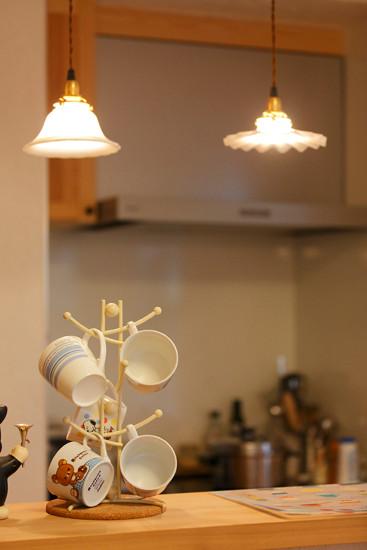 大阪 0宣言の家 出雲建築設計 東大阪 自然素材リフォーム 健康住宅 自然素材の家 キッチン デザイン照明 調湿空間 完成見学会