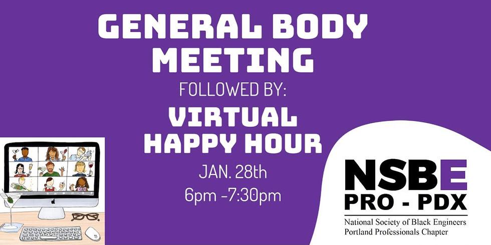 January 2021 General Body Meeting / Virtual Happy Hour