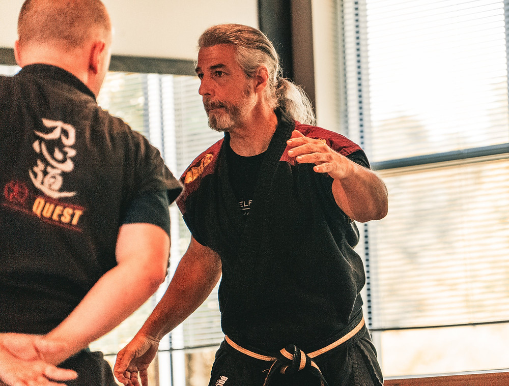 Mark Sentoshi Russo demonstrating self defense technique at Tampa Martial Arts School.