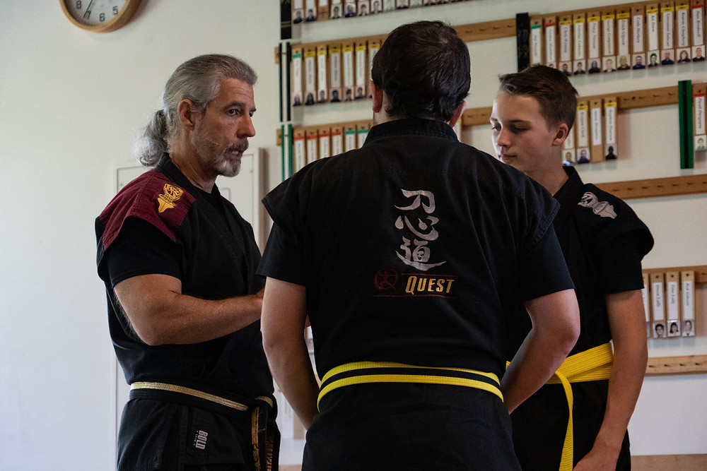 Mark Sentoshi Russo interacting with students at his martial arts school in Tampa, FL.