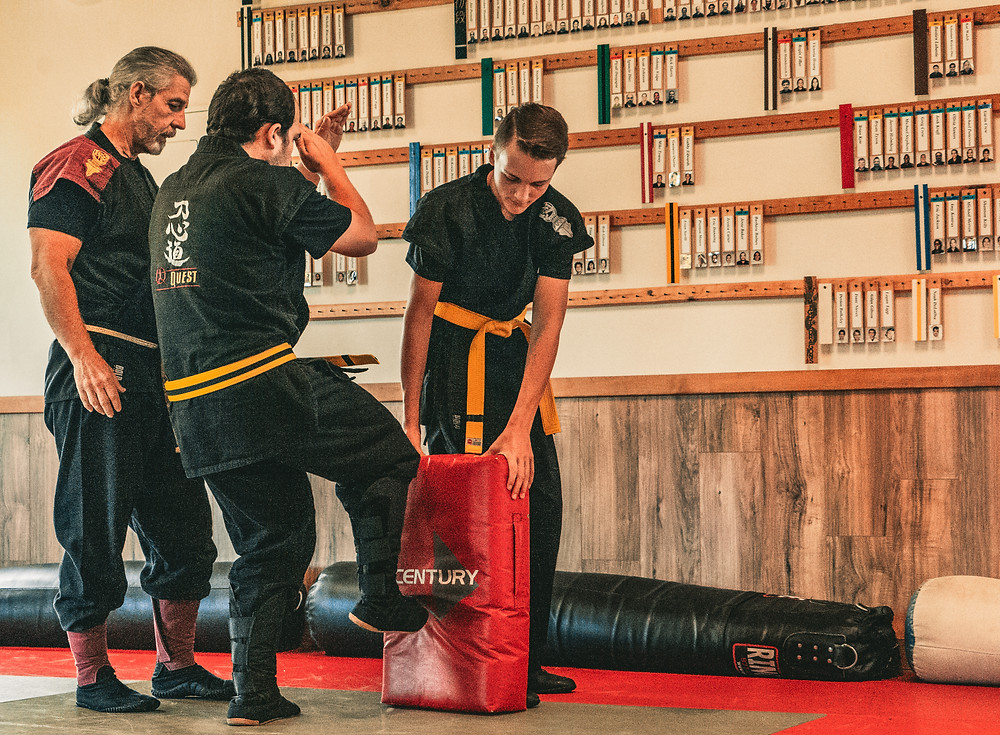 Students learning To-Shin Do front toe kick at Tampa Martial Arts School.