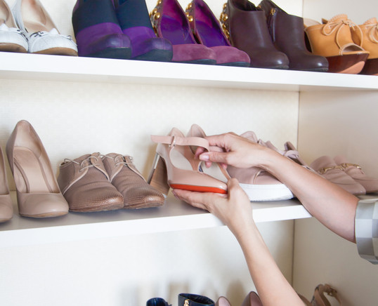 Wardrobe. Shelves for shoes. Storage and