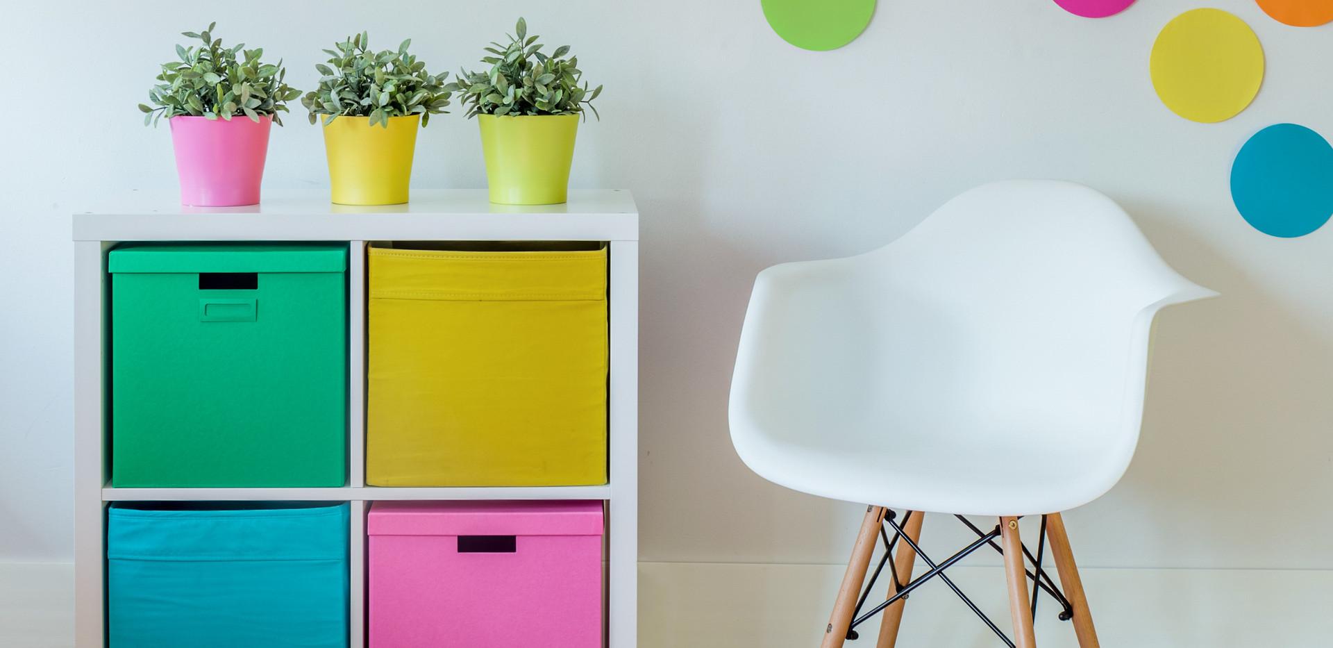Interior of multicolor designed room for