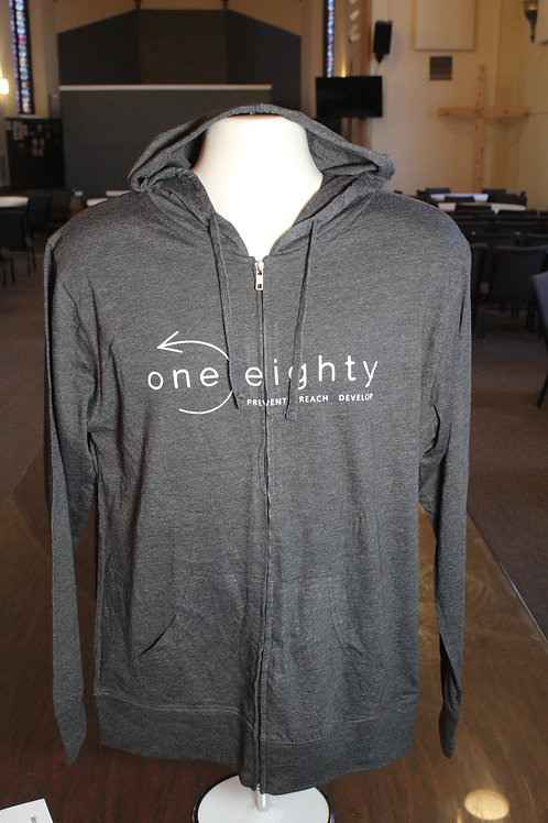 one eighty light weight zipper hoodie - heather charcoal grey / white print