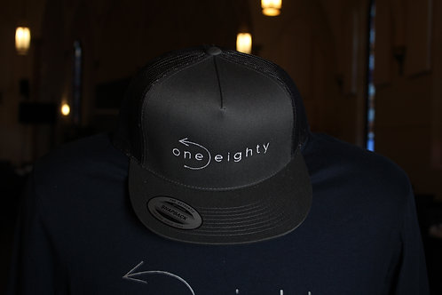 one eighty mesh flat bill snapback - dark grey / black