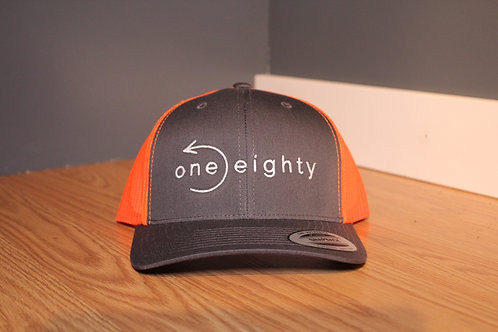 mesh back semi curved bill - charcoal / orange hat