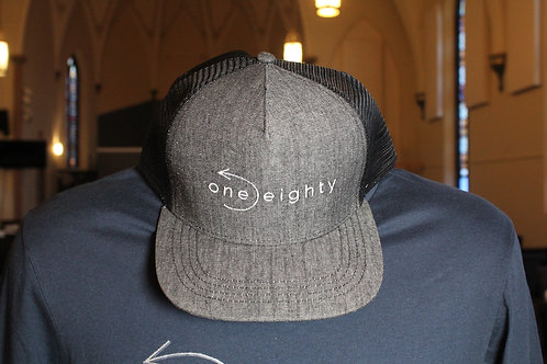 one eighty flat bill hat - heather grey / black