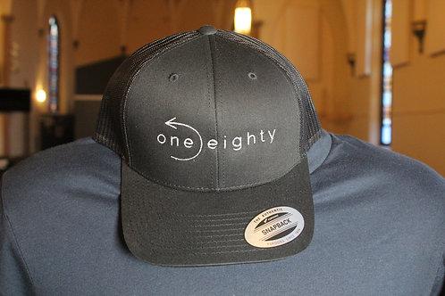 one eighty mesh snap back hat - black / black