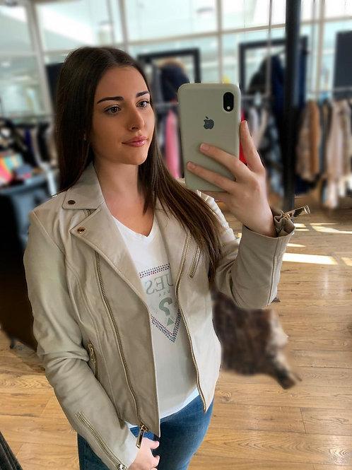 RINO & PELLE Cream Leather Jacket
