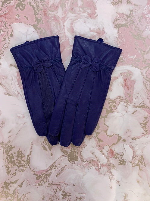Bow Leather Glove - Navy/Black
