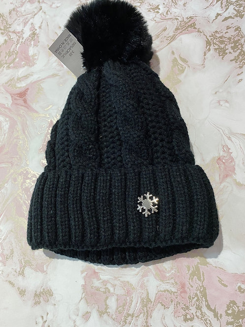 Snowflake Faux Bobble - Black
