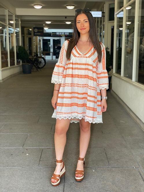 Lace Trim Boho Dress - Orange