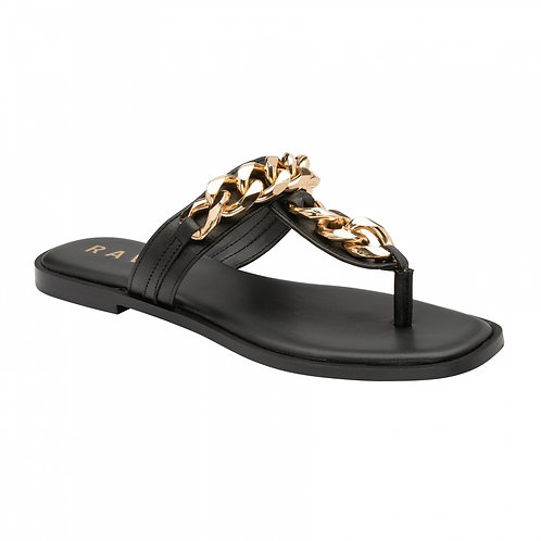 Black Serena Leather With Gold Chain