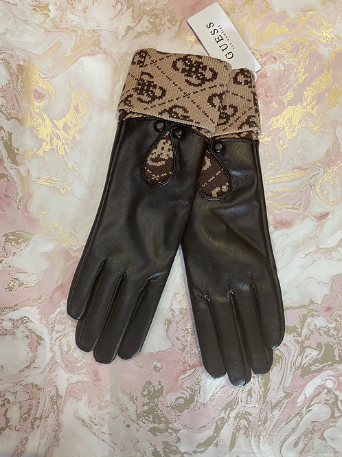 GUESS Logo Gloves Brown