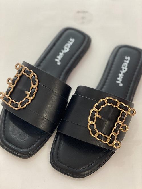 Buckle Inspired Sandals- Black