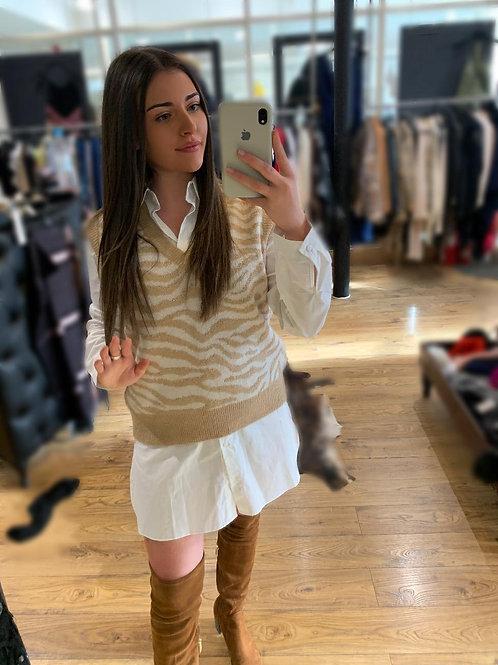 Shirt Dress Set - Tan