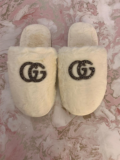 GG Inspired Slippers - Closed White