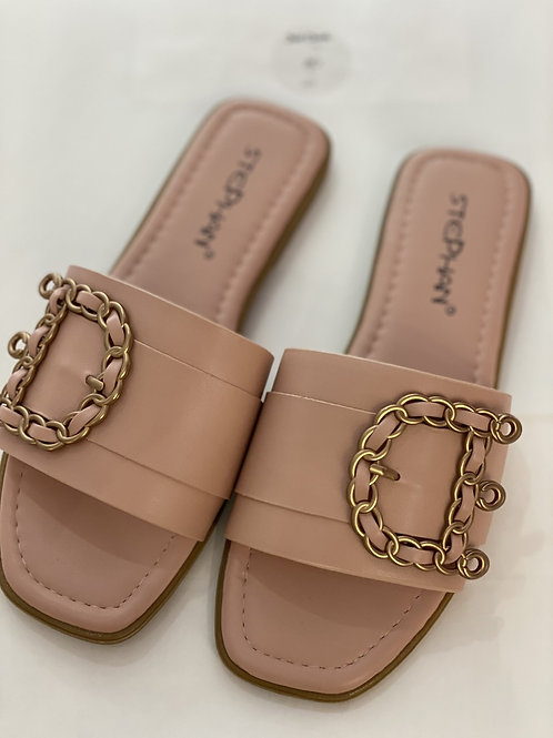 Buckle Inspired Sandals- Blush