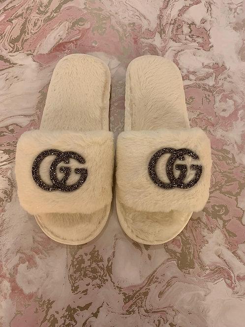 GG Inspired Slippers - White