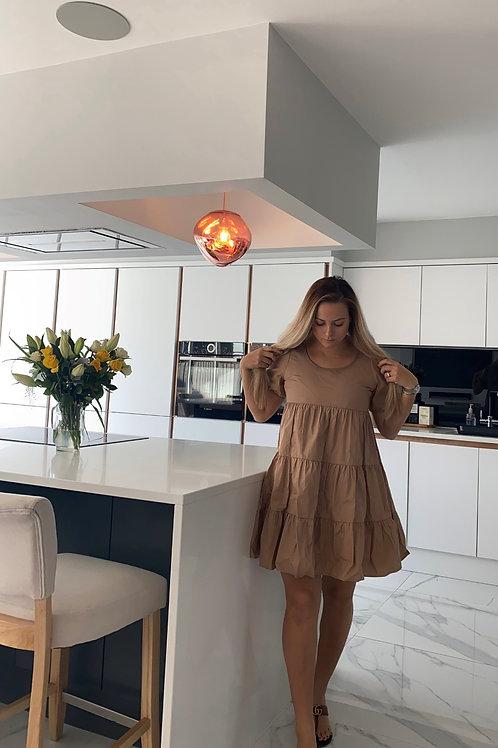 Ruffle Frill Dress - Tan