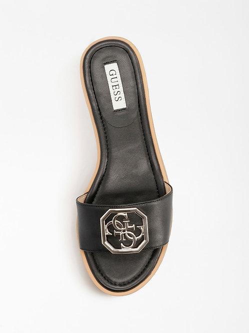 GUESS Botali Real Leather Sandal - Black