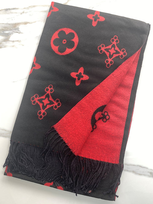 Black and Red Flower Inspired Scarf