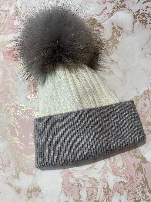 Fur Bobble Hat - Grey/White