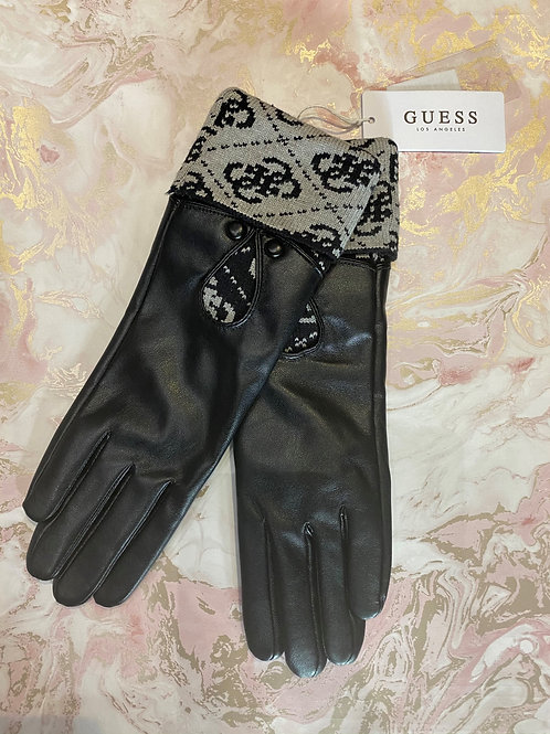 GUESS Logo Gloves Black