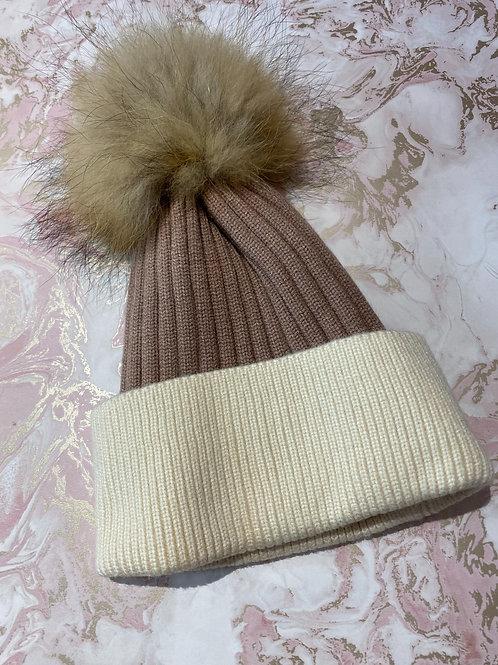 Fur Bobble Hat - Nude/White
