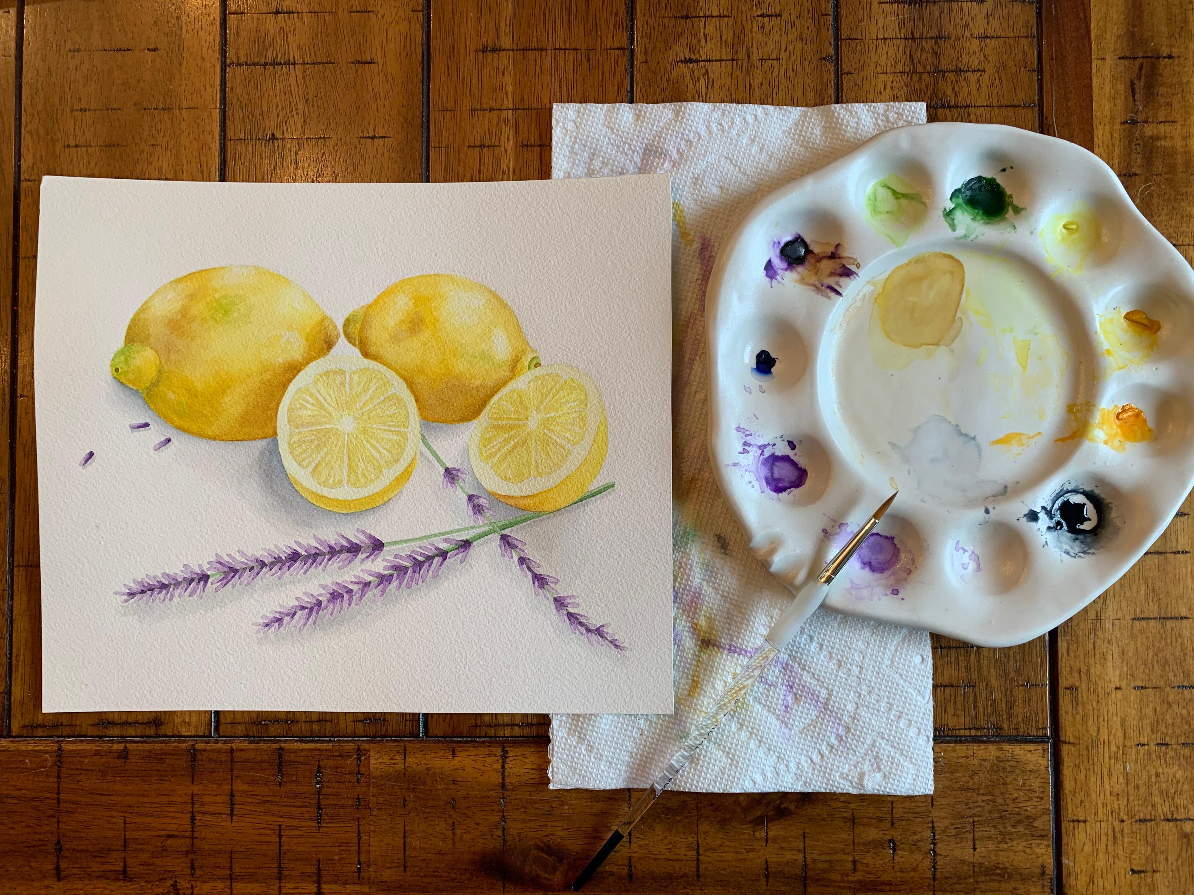 Watercolor Lemons and Lavender
