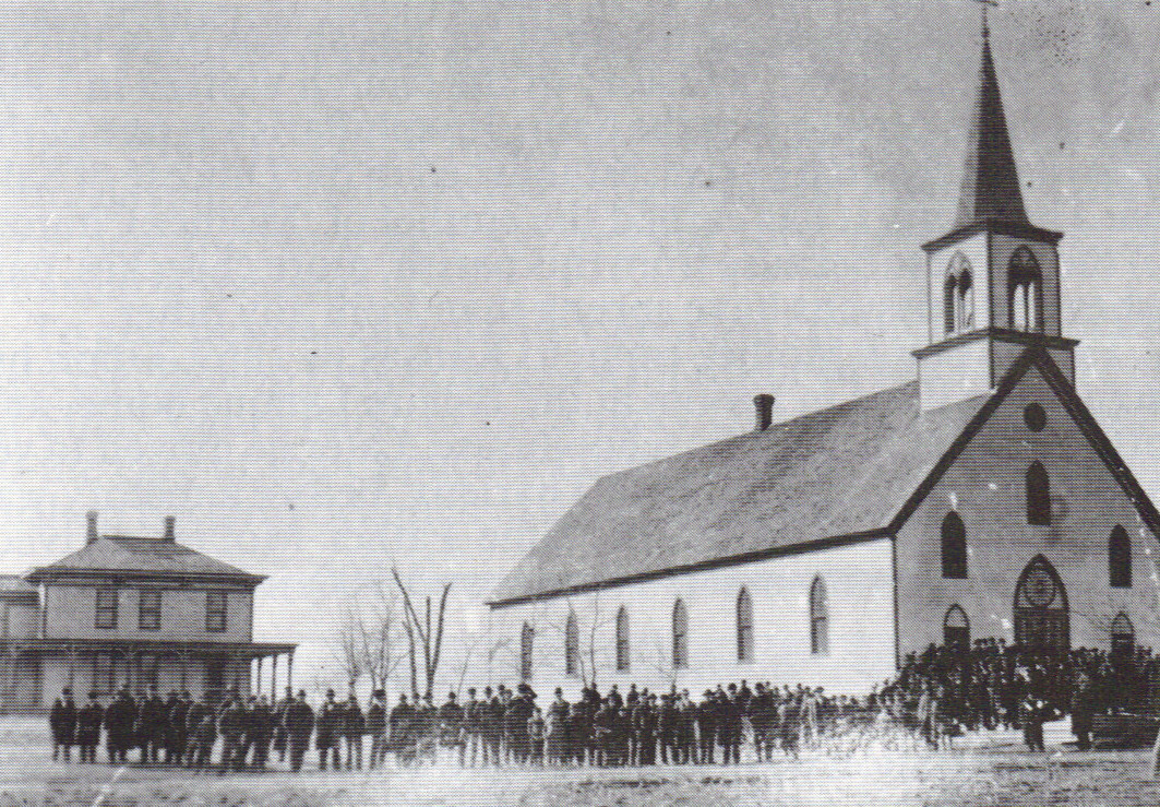 Old church with parishioners.JPG