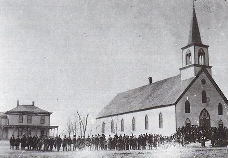 Old church with parishioners.JPG