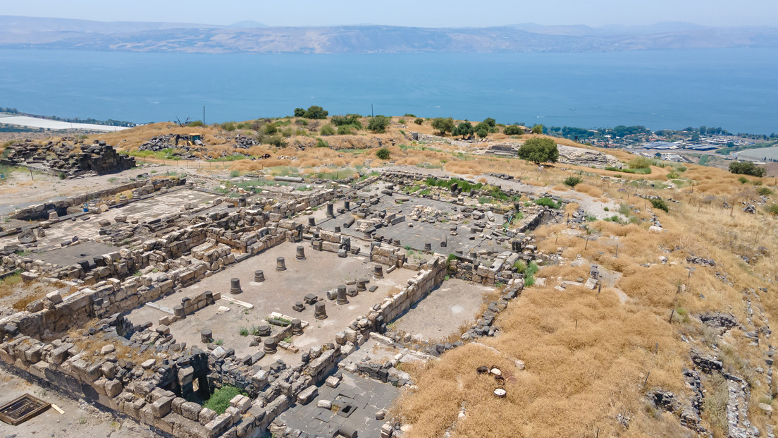 Aerial view to the ruins of the Greek -