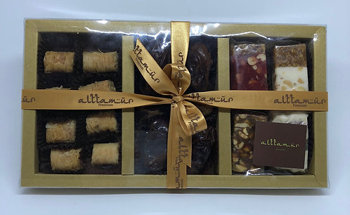 Transparent Cover Glossy Gold Box Medium with Dates, Baklava, Nougats
