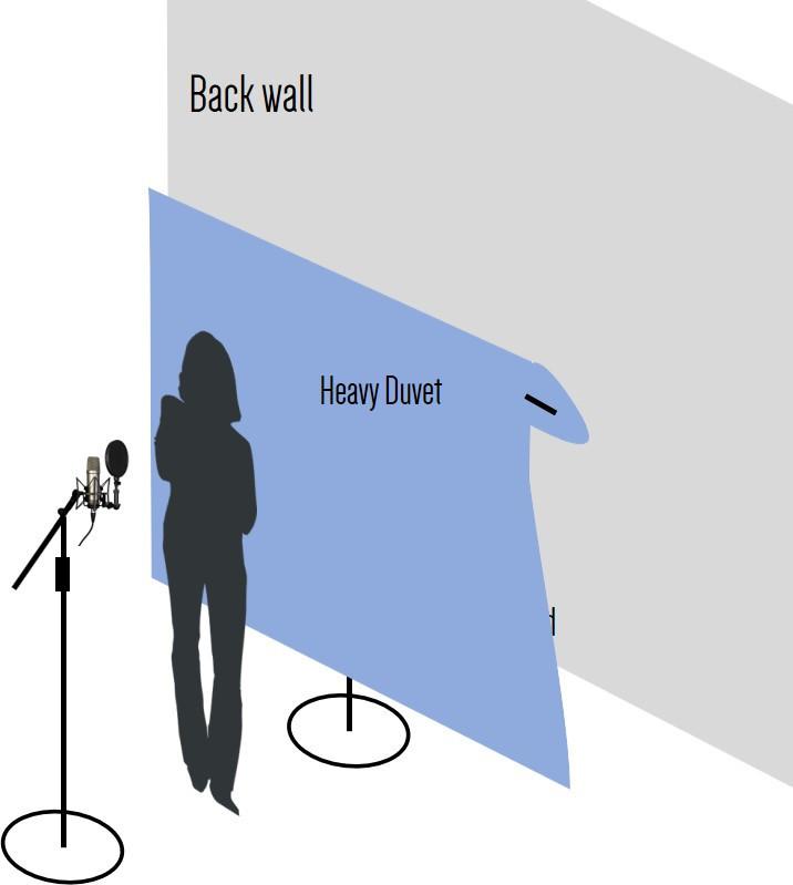 Microphone, singer and duvet behind