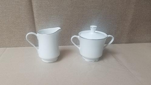 Silver Trim Sugar / Creamer Set