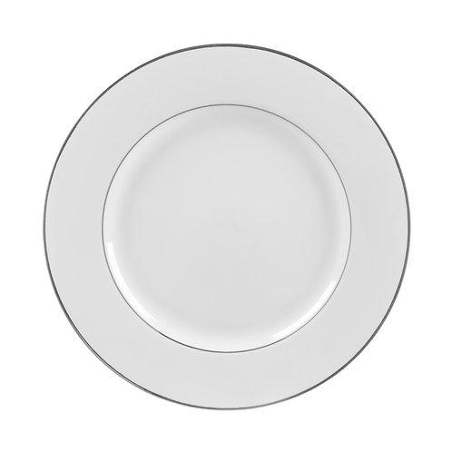 "Silver Trim White Dinner 10 3/4"""