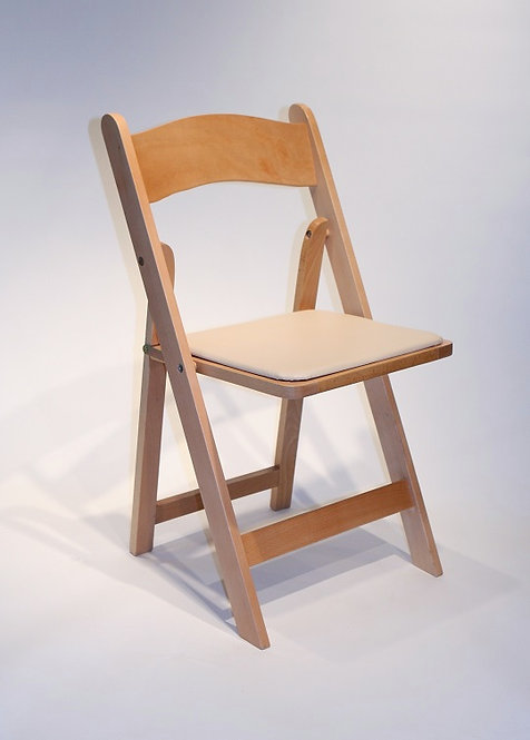 Natural Folding Chair with Padded Seat