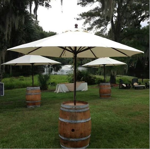 Wine Barrel with Market Umbrella