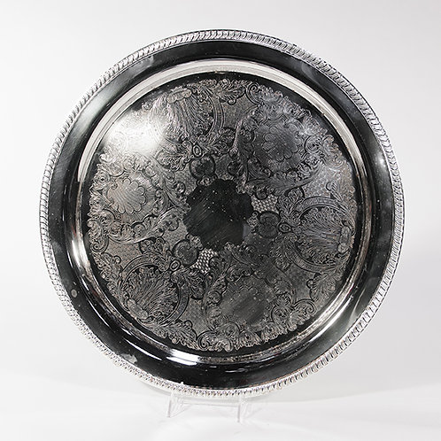"""Silver Plated Tray 16"""" Round"""