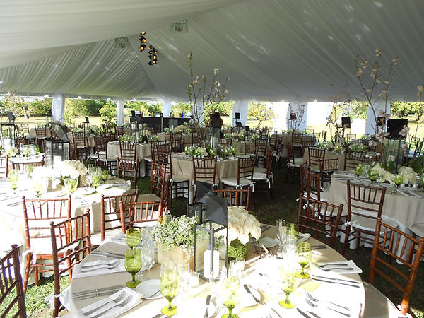 outdoor wedding, tent with liner, tables, chairs