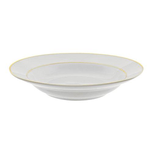 Gold Trim White Soup Bowl