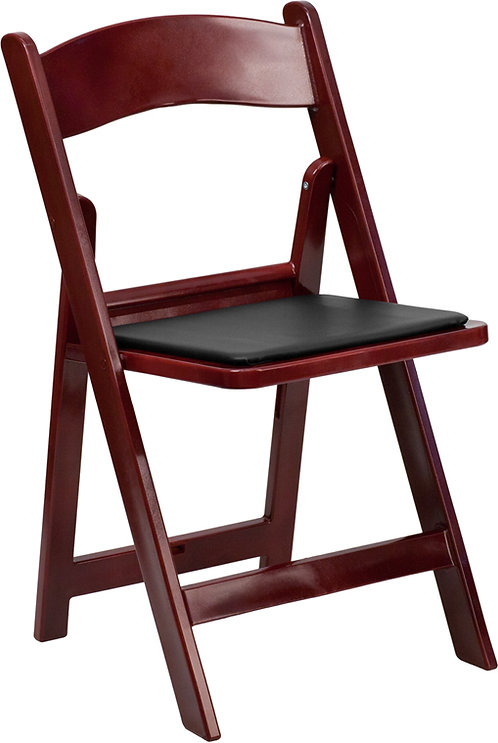 Mahogany Folding Chair with Padded Seat