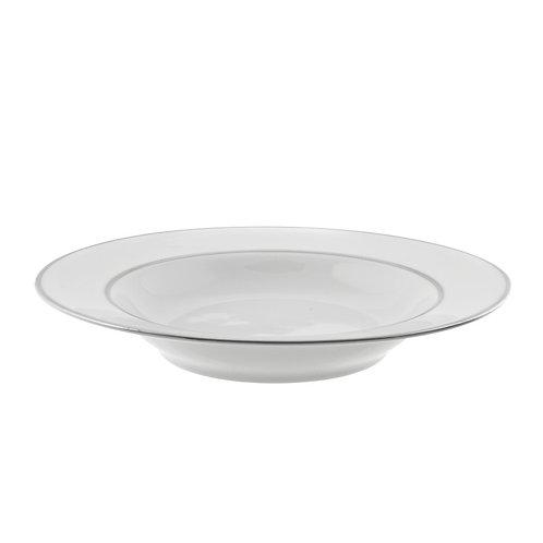 Silver Trim White Soup Bowl