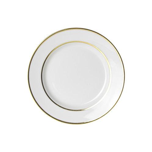 """Gold Trim White Salad / Dessert 7 3/4"""""""