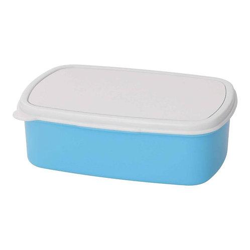 broodtrommel/ brooddoos plastiek met bedrukt deksel blauw